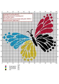 Papillons 4 couleurs color butterfly) by Corinne Thulmeaux Butterfly Cross Stitch, Cross Stitch Bird, Cross Stitch Animals, Cross Stitch Flowers, Modern Cross Stitch, Cross Stitch Charts, Counted Cross Stitch Patterns, Cross Stitch Designs, Cross Stitching