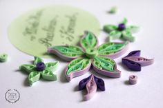 Ręcznie robiona imienna kartka ślubna z kwiatami quilling handmade PAPI
