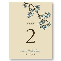 Blue Peach Blossoms Table Number Card Postcard by fat_fa_tin
