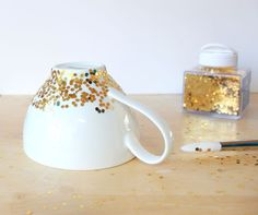 Another great way to Upcycle some boring dishware! Lines Across: DIY Gold Confetti Dipped Mug