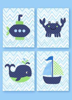 Guardería azul marino y verde ballena guardería náutica