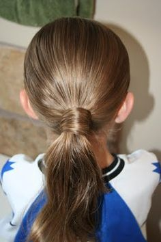 Quick easy hairstyle for dd in the morning.  Hairstyle Video: Hair-Wrapped Ponytail | Hairstyles, Braids & Video Tutorials | Cute Girls Hairstyles