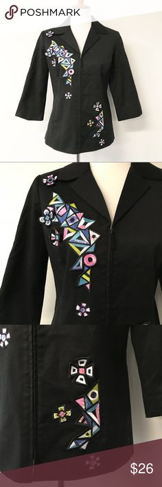 """Bob Mackie Wearable Art Patches Jacket Beautiful zip up jacket from Bob Mackie Wearable Art! Gorgeous floral/abstract patches on the front. 3/4 length sleeves. In perfect like new condition. Smoke and pet free home. Measurements taken laid flat. 19"""" armpit to armpit. 19"""" Waist. 25"""" long shoulder to hem. 17"""" long sleeves. Bob Mackie Jackets & Coats"""