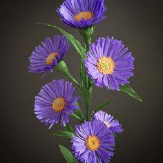 "87 lượt thích, 6 bình luận - Tiffany Holloway (@nectar_hollow) trên Instagram: ""Aster flower detail. #handmade #crepepaper #paperflowers #paperart #asterflower"""