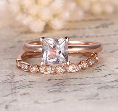 $628 Princess Morganite Engagement Ring Sets Pave Diamond Wedding 14K Rose Gold 7mm