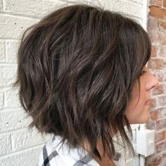 Short Layered Bob Hairstyles With Bangs While short haircuts are quite trendy, don't you want to try the bangs hair styles? These great short layered bob with bangs images here will guide for a new. Layered Bob With Bangs, Short Wavy Bob, Short Hair Cuts, Short Hair Styles, Choppy Layers, Layered Bobs, Choppy Bangs, Short Bangs, Medium Layered