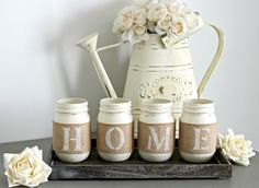 Rustic Home Decor-Rustic Table Centerpieces-Housewarming Gift-Rustic Wooden Tray-Coffee Table Tray-Table Decor-Farmhouse Tray with Jars Mason Jar Diy, Painted Mason Jars, Mason Jar Crafts, Farmhouse Table Centerpieces, Table Decorations, Rustic Farmhouse Decor, Rustic Decor, Casa Retro, New Homeowner Gift