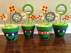 do them and fill with pretzels, chex mix , popcorn, etc Turtle Birthday Parties, Ninja Turtle Birthday, Ninja Turtle Party, Third Birthday, Birthday Ideas, Ninja Turtle Centerpieces, Ninja Turtle Decorations, Ninja Turtles, Ninja Party