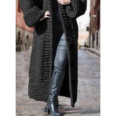 Solid Chunky knit Hooded Casual Long Cardigan (1002322445) - Sweaters - #322445 vencano Winter Cardigan Outfit, Cardigan Outfits, Hooded Cardigan, Long Cardigan, Sweater Cardigan, Winter Outfits, Dress For Short Women, Black Knit, Pullover