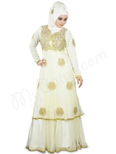 Beautiful Gold Embroidered Ivory Party Wear Abaya   MyBatua.com photo: Nida  Abaya !  Style No : AY-358  Shopping Link : http://www.mybatua.com/nida-abaya    Available Sizes XS to 7XL (size chart: http://www.mybatua.com/size-chart/#ABAYA/JILBAB)     •Deisgner flaired Abaya with gold embroidery •Top layer hems finished with golden colour lace •Embroidery on yoke  •Net top with crepe lining •Straight sleeves with matching embroidery on armlet •Matching ...
