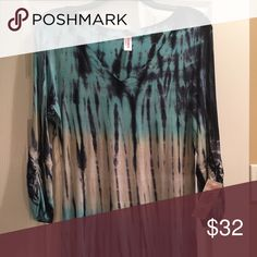 Otomix Turquoise Tie Dye Shirt NWT from Otomix. Great for exercise or just to lounge in. Has cinching on the sleeves with a V-neck. Otomix  Tops Tees - Long Sleeve