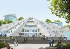 "Work has begun on the conversion of the 1980s brutalist Pyramid of Tirana in the Albanian capital into a youth-focused cultural hub. Dutch-architecture studio MVRDV is set to convert the 11,835-square-metre pyramid in central Tirana into a ""peoples monument"" that contains cafes, studios, workshops and classrooms where free lessons will be available to young Albanians. Tirana Albania, Brutalist, Enver Hoxha, Construction, Architecture, Concrete Structure, Cultural Center, Culture, Atrium"