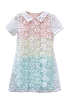 Hollowed Flower Gradient Effect Dress awww the perfect pastel dress