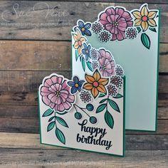 Sue Vine   MissPinksCraftSpot   Stampin' Up!® Australia Order Online 24/7   Falling Flowers   May Flowers Framelits  Handmade Card #stampinup #fallingflowers #mayflowers  #WWYS