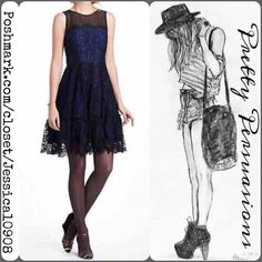 Nwt Anthropologie Black &Blue Lace Cocktail Dress