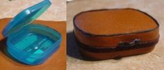 plastic gum container with leather and cording