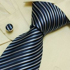 Midnightblue Striped Designer Ties for Men White Stripes Discount Gifts Discount Silk Neck Tie Cufflinks Set 6514