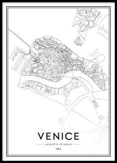 Venice Poster in the group Posters & Prints at Desenio AB Venice Map, Venice City, Venice Food, Gondola Venice, Carnival Venice, Venice Canals, Venice Travel, Venice Beach, City Map Poster