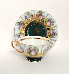 STW Bavaria Germany Courting Couple Tea Cup and Saucer, Emerald Green Gilded Gold Teacup, Arnart