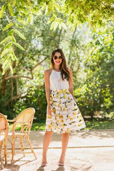 Lemon stripe summer skirt + gold bow necklace
