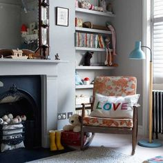 A CUP OF JO: Nursery inspiration photos // the fireplace in this nursery is so sweet Living Room Grey, Home And Living, Bedroom Minimalist, Cool Kids Bedrooms, Piece A Vivre, Home And Deco, Nursery Inspiration, Girl Room, Child's Room