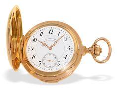 Taschenuhr: bedeutende, schwere Glashütter Taschenuhr, A. Lange & Söhne Goldsavonnette mit Minuten