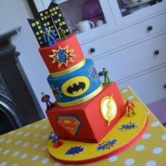 Batman, Robin, The Flash, Superman Cake on Cake Central