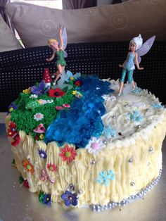 Brookies tinkerbell and periwinkle cake Fairy Birthday Cake, Cool Birthday Cakes, 10th Birthday, Birthday Party Decorations, Birthday Parties, Birthday Ideas, Disney Castle Cake, Disney Castles, Periwinkle Fairy