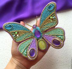 """Купить """"Коктейльная бабочка"""" брошь - комбинированный, лавандовый цвет, мятный цвет, лимонный цвет"""