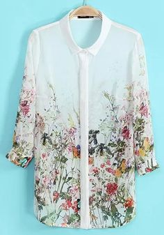 Multicolor Floral Print Long Sleeve Chiffon Blouse