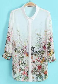 Multicolor Floral Print Long Sleeve Chiffon Blouse