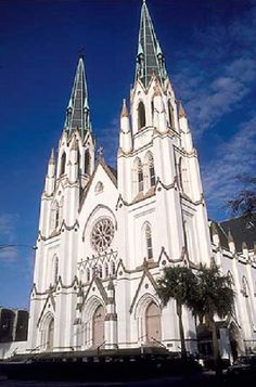 Cathedral of St John the Baptist, Savannah, Georgia, The church: Cathedral of St John the Baptist, Savannah, Georgia, USA. Denomination: Roman Catholic. The building: A gleaming, white, Gothic revival-styled edifice, with signature twin spires soaring to the heavens. The interior is magnificent, with beautiful stained glass windows, marble aisles, baptismal font, and high altar. The murals are splendid, and the stations of the cross are huge, 3D tableaux. The choir loft is to the rear of the…