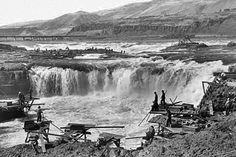 Celilo Falls on the Columbia River before the dam was built at The Dalles.
