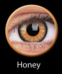 ColourVUE Glamour Series - Honey Lenses: ColorVUE's Glamour lenses create a vibrant color change and defined black circle for bigger, more glamorous-looking eyes. These contact lenses are honey-colored, but they're available in 4 other colors, too.  Each pair lasts for 3 months and can be worn for up to 8 hours at a time. Retail Price: $20.15