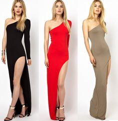 Cheap Dresses, Buy Directly from China Suppliers: Summer Dress 2015 New Fashion Floor Length Maxi Party Dresses Women One Shoulder Long Sleeve Bodycon Summer Split