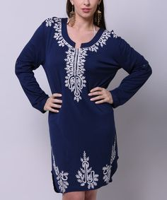 Look at this La Moda Clothing Blue Tribal Trim Long-Sleeve Dress on #zulily today!