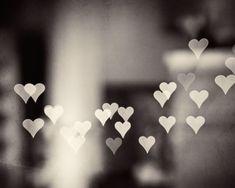 "Black and White Heart Art Photo, love bokeh neutral print dark grey artwork gray wall art large photography sparkle lights, ""Love Endures"" on Etsy, $30.00"