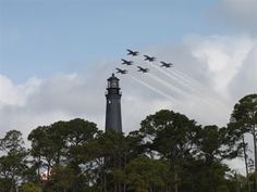 One of my favorite things: Blue Angels practice from the top of the Lighthouse. the Gulf Coast, Pensacola. Pensacola Lighthouse, Pensacola Beach, Blue Angels Practice, Us Navy Blue Angels, Lighthouse Lighting, Beacon Of Light, Old Florida, Sunshine State, Haunted Places