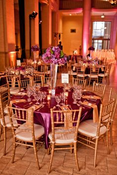 Victoria's Florals and Event Design purple linens gold chiavari chairs