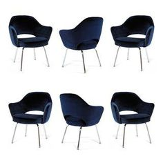 Saarinen Executive Armchairs in Navy Velvet - S/6