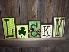 St. Patrick's day wood blocks LUCKY on Etsy, $20.00