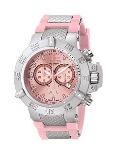 Invicta Watches Unisex Subaqua Pink & Stainless Steel Watch
