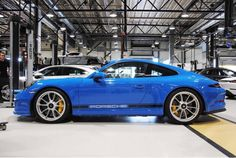 """Porsche 911R painted in paint to sample Arrow Blue w/ White central stripes and Black """"Porsche"""" stripes along the bottom of the doors  Photo taken by: @autoravetv on Instagram   Owned by: @f00tsoldier on Instagram"""