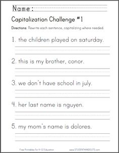 Capitalization Challenge #1 - CCSS for First Grade: L.1.2.a