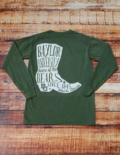 Boot Scootin boogie in this awesome new Baylor University long-sleeve t-shirt You know you wanna look super cute in this tee Sic em Bears