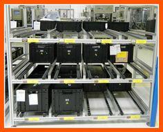 Estanterias dinámicas Kanban realizadas con perfil de aluminio y accesorios MiniTec.