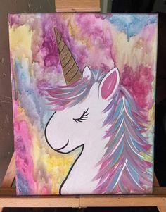 Paint Along Children's Parties... Unicorn Painting, Unicorn Drawing, Unicorn Art, Painting For Kids, Diy Painting, Painting Tutorials, Easy Paintings, Animal Paintings, Diy Canvas Art