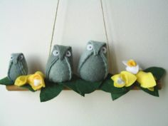 Free shipping,Blue felt baby stuffed owl plushies sitting on a wooden base,home decor,owls,housewarming gift,mothers day,HANDMADE BY FRALINE by fraline on Etsy