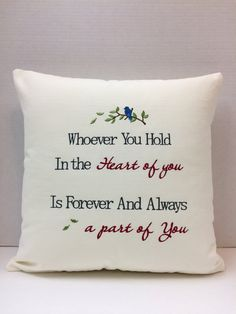 Embroidered Memory Pillow Sympathy Gift by CustomMadeByPam on Etsy Memory Pillow From Shirt, Memory Pillows, Memory Quilts, Script Cursif, Memory Crafts, Bereavement Gift, Quilt Labels, Shirt Quilt, Shirt Pillows