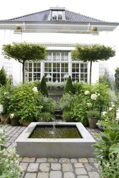 Probably my favorite image- looking forward to plantings to soften Casita facade (can be combo of berry vines, rhubarb, an evergreen tree or two, etc)  Also LOVE the simple fountain.  Really lets the greenery be the star.  All seems peaceful and not too fussy and/or ornate.  I don't want anything faux Mediterranean or Italianate.  Needs to be in keeping with our modern farmhouse.